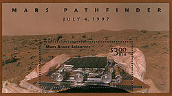 U.S. Postal Stamp commemorating the mars pathfinder mission.