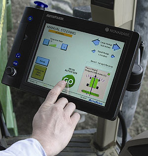The touch-screen controls for Novariant's autosteer farm equipment. Photo courtesy of Novariant.