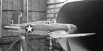 A production Vought F4U-1 in the Full-Scale Tunnel for drag cleanup