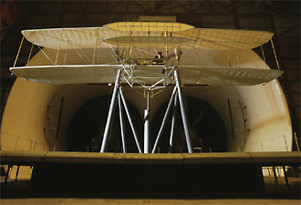 A replica of the 1903 Wright Flyer tested in the Full-Scale Tunnel