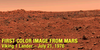 The first color image from the surface of Mars, taken by Viking lander 1 on July 21, 1976