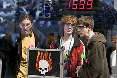 Students from teams 1599 (Atlee High School, Richmond, Va.) and 638 (Clover High School, Midlothian, Va.) during the practice round
