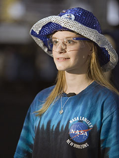 Menchville High School student Sarah Wilbur at the 2007 FIRST Robotics Competition regional event in Richmond, Va.