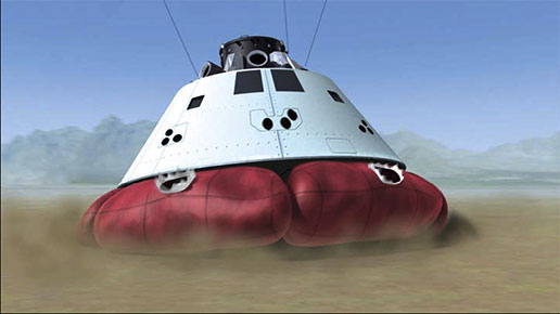 Artist's concept of Orion airbag landing system