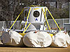 Orion crew module mock-up lands after a second-generation airbag drop test
