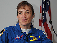 Astronaut Heidemarie Stefanyshyn-Piper speaking at the Silver Snoopy Awards Ceremony.