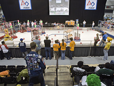 The Virginia Regional FIRST Robotics competition playing field at VCU in Richmond, Va.