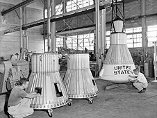 Technicians built a series of Little Joe capsules in NASA Langley workshop; this photo was taken in July 1959