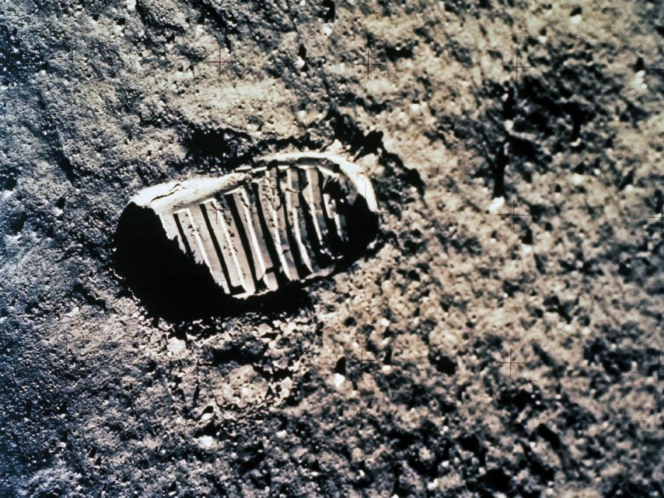 Apollo astronaut 'footprint' in the lunar dust