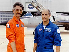 Research pilot Phil Brown (R) and engineer Bruce Fisher (L)