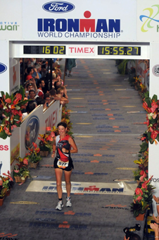 Sharon Rodier finishing Ironman championship.