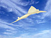 A rendering of a sleek supersonic airplane in flight