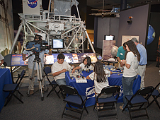 Univision TV crew at Va. Air and Space Center