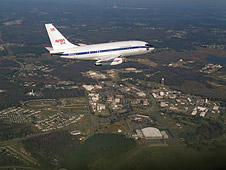 NASA 515 flies over the Langley Research Center