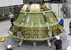 Lockheed Martin Orion team inspects the Orion crew module ground test structure