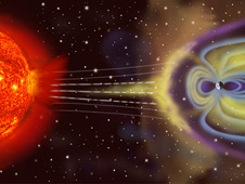 Artist concept shows the interaction between the sun and Earth's magnetosphere