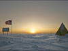 The South Pole seen at sunrise during the part of the year where there is sun at all in the region.