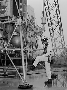 Astronaut Alan Shepard practiced landing on the moon at Langley