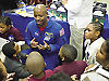 Leland Melvin talks with students.