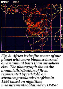 DMSP image of African brush fires