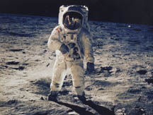 Astronaut Buzz Aldrin on the lunar surface