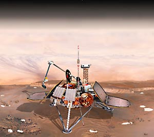 Artist conception of the Mars Polar Lander spacecraft on the surface of Mars - click to enlarge