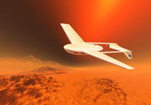 Artist's illustration of an early Mars Airplane concept, courtesy of NASA Ames Research Center