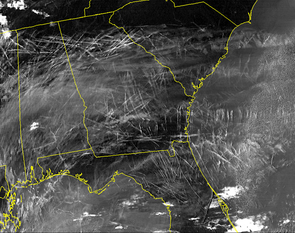 East coast contrails