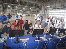 Guests in the hangar at Open House.