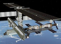 Computer-generated artist's rendering of the International Space Station following scheduled activities of July 19, 2005