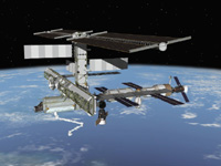 Computer-generated artist's rendering of the International Space Station following scheduled activities of Nov. 18, 2005