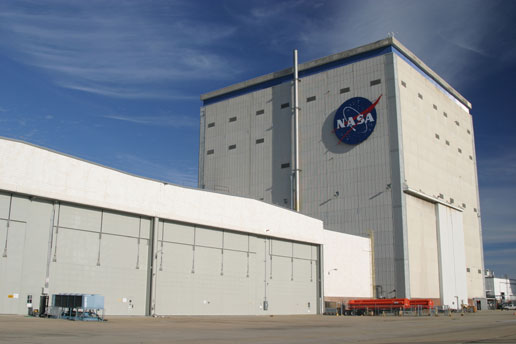 Repair of the NASA logo at Michoud Assembly Facility