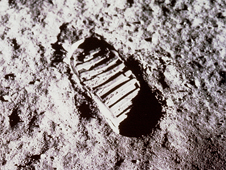 Photo of the first footprint on the Moon's surface.