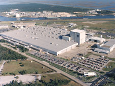 Aerial view of the manufacturing plant which houses the National Center for Advanced Manufacturing at NASA's Michoud Assembly Facility.