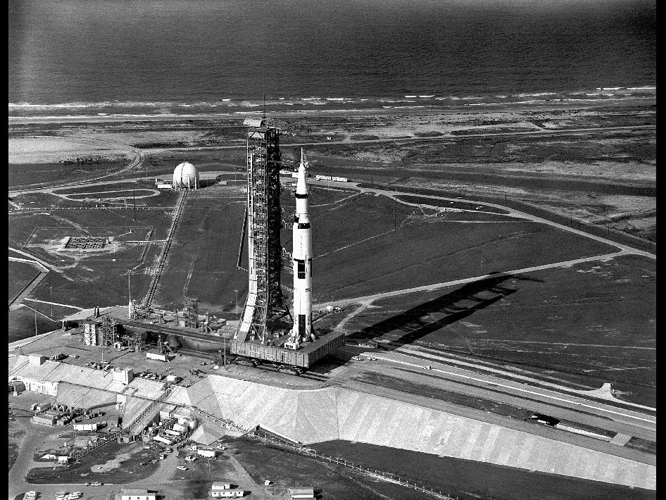 NASA - Aerial View of Apollo 11 Saturn V on Transporter