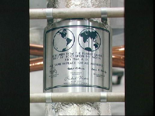 Closeup view of the plaque which the Apollo 11 astronauts left behind on the moon.