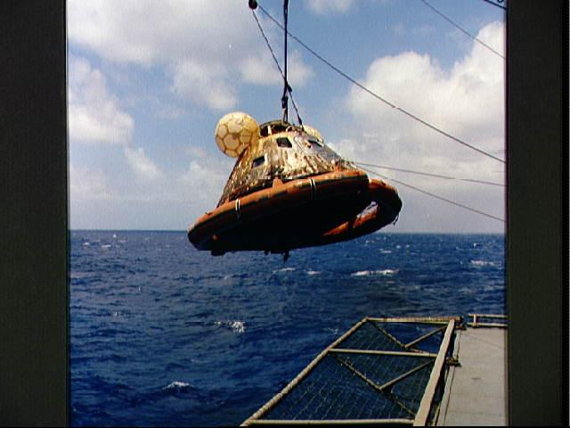 NASA - Apollo 11 Command Module Pulled From Pacific Ocean