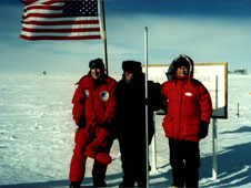 Former astronauts Jim Lovell, left, and Owen Garriott, right, joined Dr. Richard Hoover at the South Pole during an Antarctica research expedition in 2000.