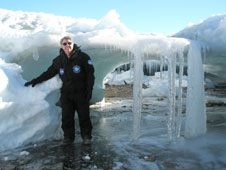 Astrobiologist Dr. Richard Hoover of NASA's Marshall Space Flight Center in Huntsville, Ala., seen here in the Schirmacher Oasis ice cave in Antarctica in February 2009.