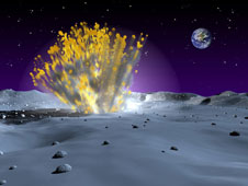 This artist's rendering of a small but powerful meteor strike on the surface of the moon.