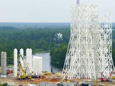 A3 test stand construction at Stennis Space Center.