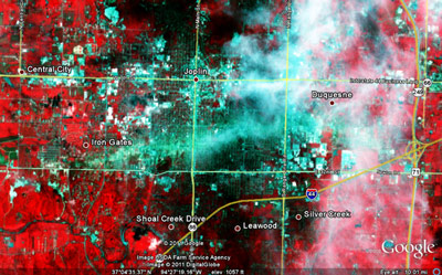 Advanced Spaceborne Thermal Emission and Reflection Radiometer, or ASTER, satellite data acquired on May 30, 2011, showing the damage track resulting from for the EF-5 tornado associated with the May 22, 2011, Joplin, Mo. storm.