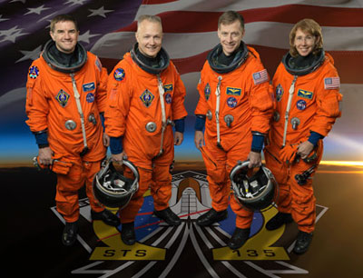 Commander Chris Ferguson, center right; Pilot Doug Hurley, center left; and Mission Specialists Rex Walheim and Sandy Magnus will fly space shuttle Atlantis on the final scheduled space shuttle mission, STS-135.