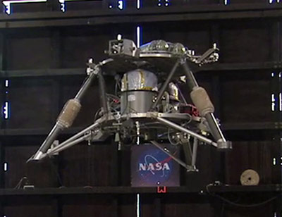 NASA's robotic lander prototype hovers autonomously during the second free-flight test at Marshall.