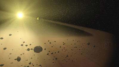 Artist concept of a narrow asteroid belt orbiting a star.