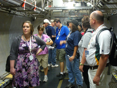A group of 16 U.S. Space Camp Twitter followers tour Environmental Control and Life Support Systems facilities at the Marshall Space Flight Center.