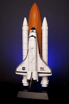 Marshall team members attending the Shuttle Pride Social July 21 can register to win a 1:100 Atlantis full shuttle stack model, signed by the entire crew of STS-135.
