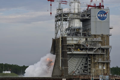 On July 14, NASA conducted a combined chill test and 1.9-second ignition test of the next-generation J-2X rocket engine on the A-2 Test Stand at NASA's Stennis Space Center.