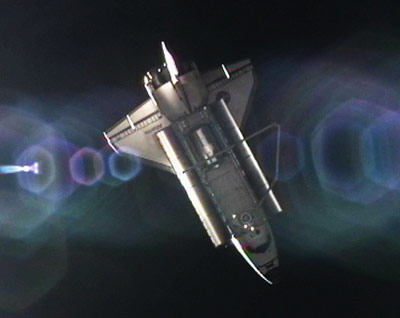 Space shuttle Atlantis photographed by International Space Station astronauts shortly after undocking July 19.