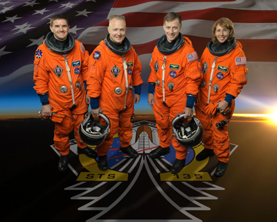 STS-135 crew members, from left, Mission Specialist Rex Walheim, Pilot Doug Hurley, Commander Chris Ferguson and Mission Specialist Sandy Magnus.